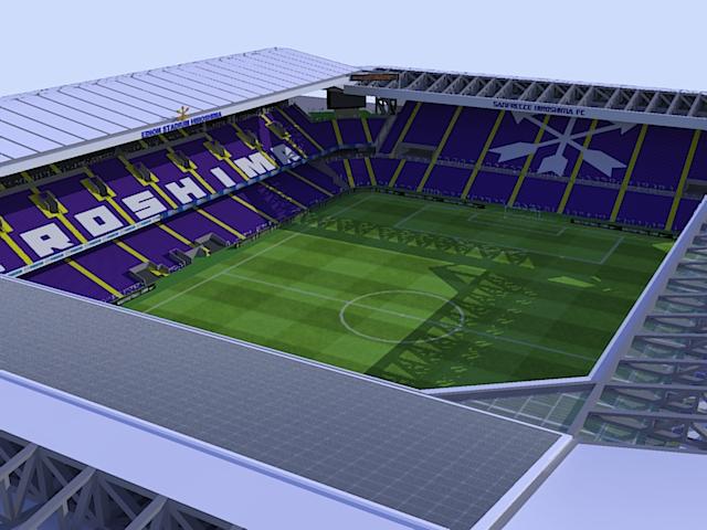 北から見たスタジアム 640   480ピクセル 屋根の太陽電池 北から見たスタジアム
